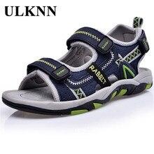 Новые летние детские сандалии; кожаная детская пляжная обувь на липучке; повседневная обувь на плоской подошве; высокое качество; Мужская обувь для мальчиков; большие размеры