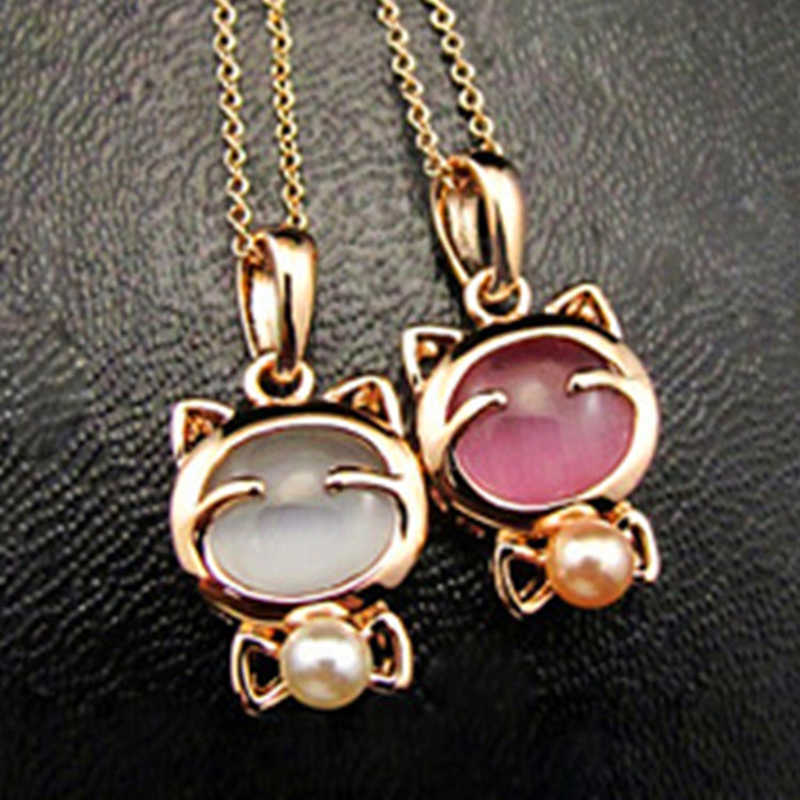New Fashion Jewelry Lucky Cat Bohemian Statement Necklace Cat Eye Stone Pendant Necklace Female Elegant Necklace 2019