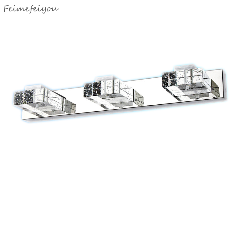 New Mirror Wall light Top stainless steel+ K9 crystal bathroom LED mirror lamps 85-265V 3*3W 3 heads hot selling dvolador luxury crystal led mirror front light 10w 15w ac110 220v bathroom waterproof anti fog led stainless steel wall light