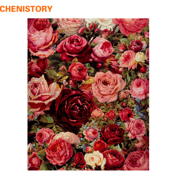 CHENISTORY Romantic Rose Flower Diy Painting By Numbers Modern Wall Art Picture Unique Gift For Wedding Decoration 40x50cm Arts