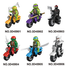 1pcs Ninja Figure Turtle With Motorcycle Building Blocks Bricks Toys Compatible Ninjagoed Ninja for kids gifts jm74 lepin 06022 ninja compatible legoingls 70751 blocks ninja figure temple of airjitzu toys for children building blocks 70603 toys