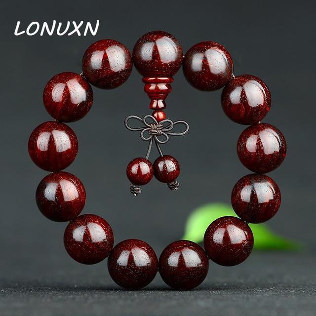 20mm authentique inde naturel lobulaire rouge santal Bracelets bouddha 108*8mm perles Bracelets étoile d'or vieux matériel bijoux