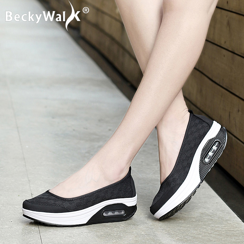 Spring Women Flats Shoes Mesh Breathable Casual Sneaker Comfortable Mother Shoes Woman Thick Bottom Platform Women Shoes WSH3277