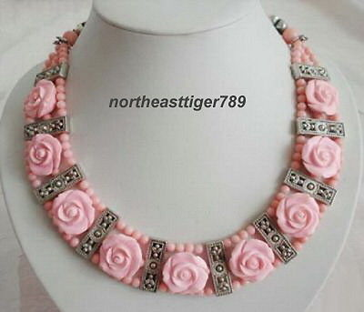 Vente chaude Noble-LIVRAISON GRATUITE >>>@@ vente Chaude S>> 3 Rangées Rose Corail Perles Fleurs Tibétain Argent pendentif Collier