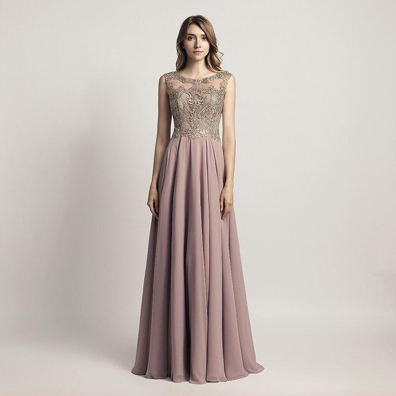 Sleeveless Chiffon Sheer Neck Illusion Back Long Bridesmaid Dress 1