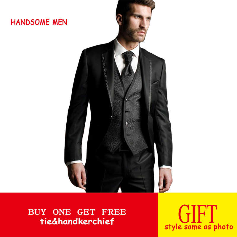 aba6c06baac7 terno masculino High Quality Men Suits Groom Tuxedos Wedding Suit Evening  Party 2019 Jacket Pants Vest