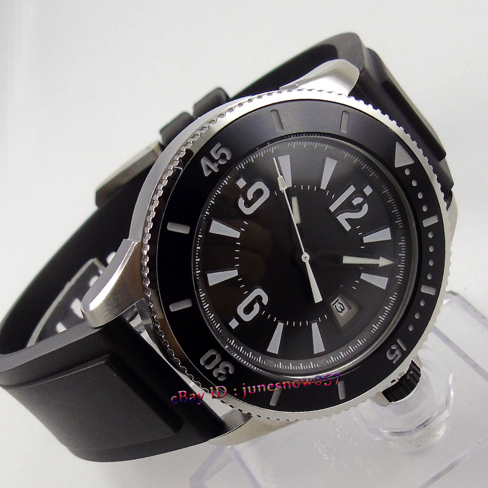 лучшая цена BLIGER 43mm black dial date display luminous ceramic bezel rubber strap MIYOTA Automatic movement men's watch