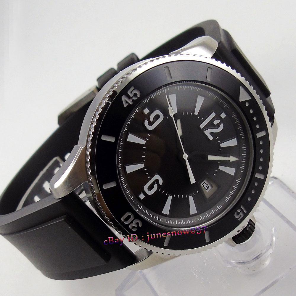Bliger 43mm 블랙 다이얼 날짜 표시 빛나는 베젤 고무 스트랩 miyota 자동식 무브먼트 남자 시계 Bi 1-에서기계식 시계부터 시계 의  그룹 1