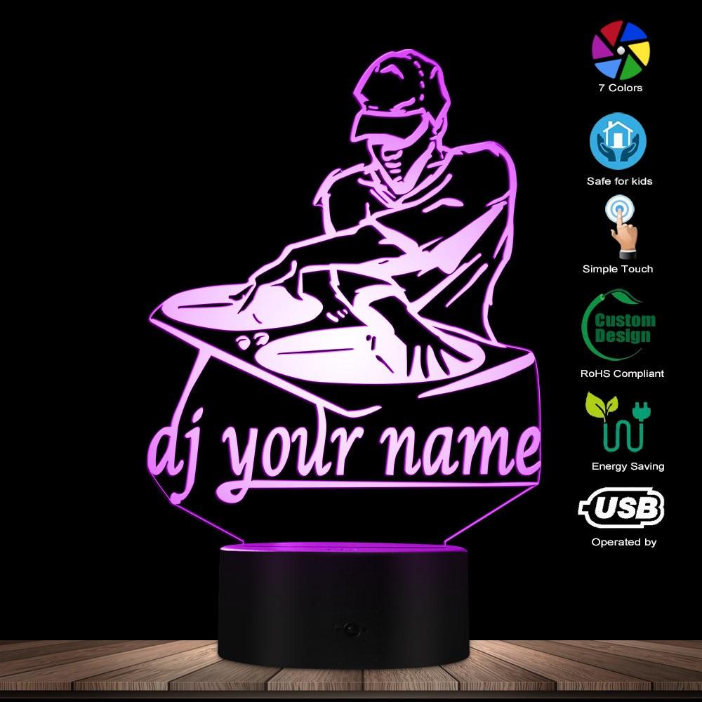 Disco DJ LED Night Light Creative Table Lamp DJ Turntable Personalised Custom Your Name Music Club Party Decorative Lighting