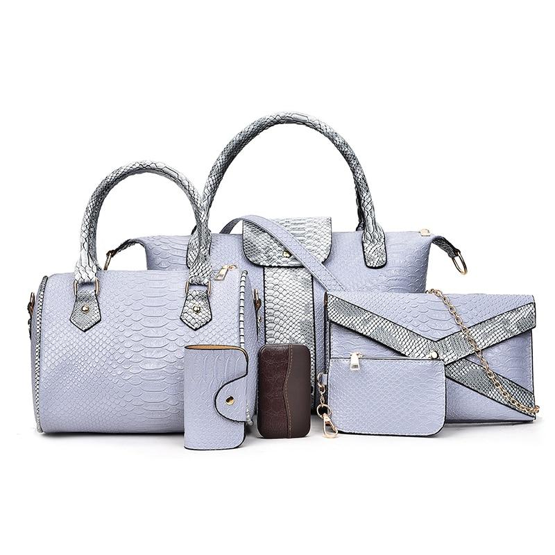 ФОТО 6Pcs Set Women Handbag Luxury Serpentine PU Leather Handbags Women Bags Designer Famous Brand Composite Bags Ladies Shoulder Bag