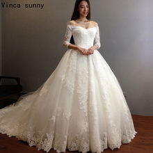 Buy three quarter sleeve wedding dress and get free shipping on ...