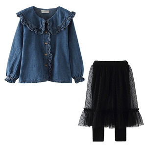 Image 5 - The Newest Style Children Clothing Sets Kids Girls Two Piece Set Jeans Shirts and Lace Skirt Pants Teenage Black Mesh Pants 12Y