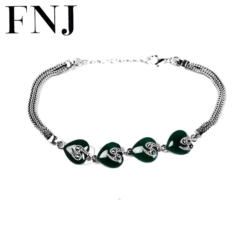 FNJ Natural Green Stone Bracelets 925 Sterling Silver Synthetic Heart Blue corundum S925 Thai Silver Chain Bracelet mysterious green head heart bracelet