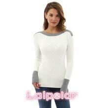 Laipelar Patchwork Knitted Sweater Women Pullover 2018 Autumn Winter Tops Casual Slim Long Sleeve Shirt Knit Jumper D34-AZ-4