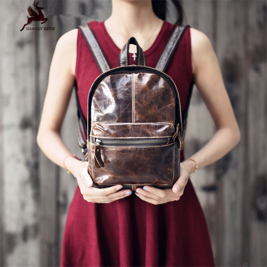 Vintage Mini Crazy Horse Genuine Leather Lady Backpack Frist Yard Of Leather Oil Wax College Bag crazy horse genuine leather luxury women vintage backpack oil wax cowhide travel casual designer female retro book daypack bag