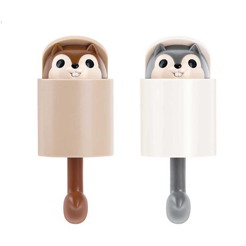 2 piezas gancho de llave creativo Rail llavero gancho de ardilla extensible gancho de pared de dibujos animados para baño ropa de cocina abrigo colgador de sol