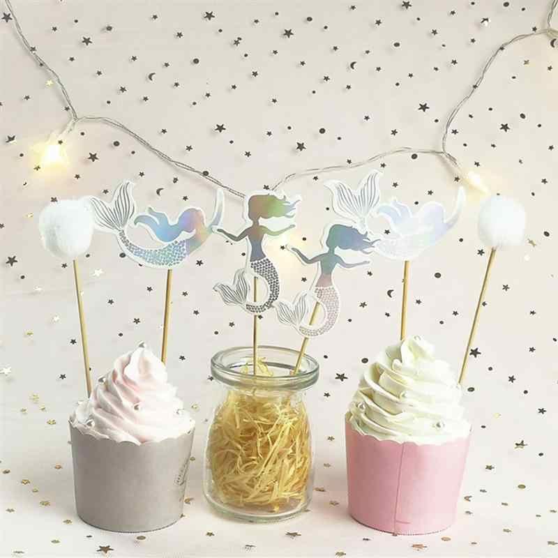 12 шт. Русалка торт фигурка для торта кекс Шпажки для фруктов десертный стол декоративные принадлежности для маленьких девочек день рождения, детский душ вечерние A3