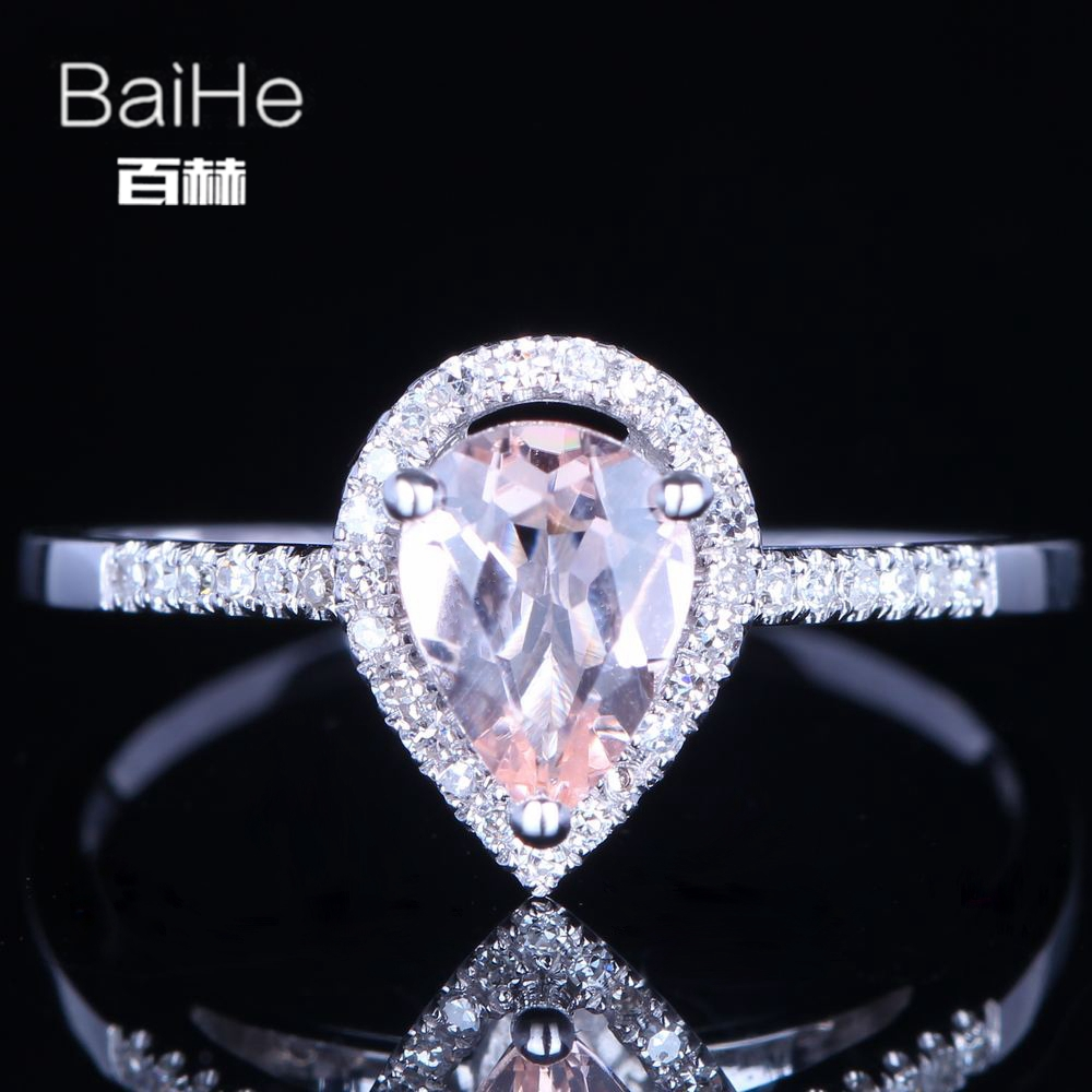 BAIHE Sterling Silver 925 0.6ct Certified Pink Flawless Pear CUT Genuine Morganite Women Trendy Fine Jewelry unique fashion Ring