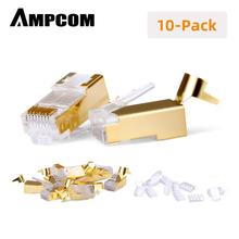 AMPCOM Cat7 Connector Shielded Ethernet RJ45 2-Piece Set STP 8P8C 50u Gold Plated Modular Plug for CAT7 CAT6A