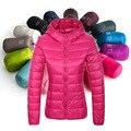 Nueva 2016 otoño invierno mujer ultra ligero hwhite pato abajo con capucha parkas capa de la chaqueta 14 colores Del Caramelo Más El tamaño S a 4XL m215