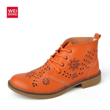 WeiDeng 2017 Genuine Leather Brogue Ankle Motorcycle Boots Lace up Women Summer Fashion Retro Flat Classic Shoes Size Plus