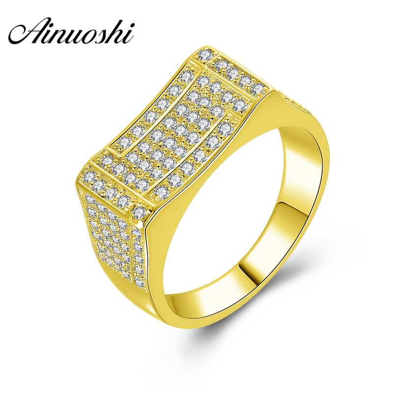 AINUOSHI 10K Solid Yellow Gold Men Ring Rows Drill Square Cluster Ring Wedding Engagement Gold Jewelry 6.2g Wide Wedding Band цена и фото