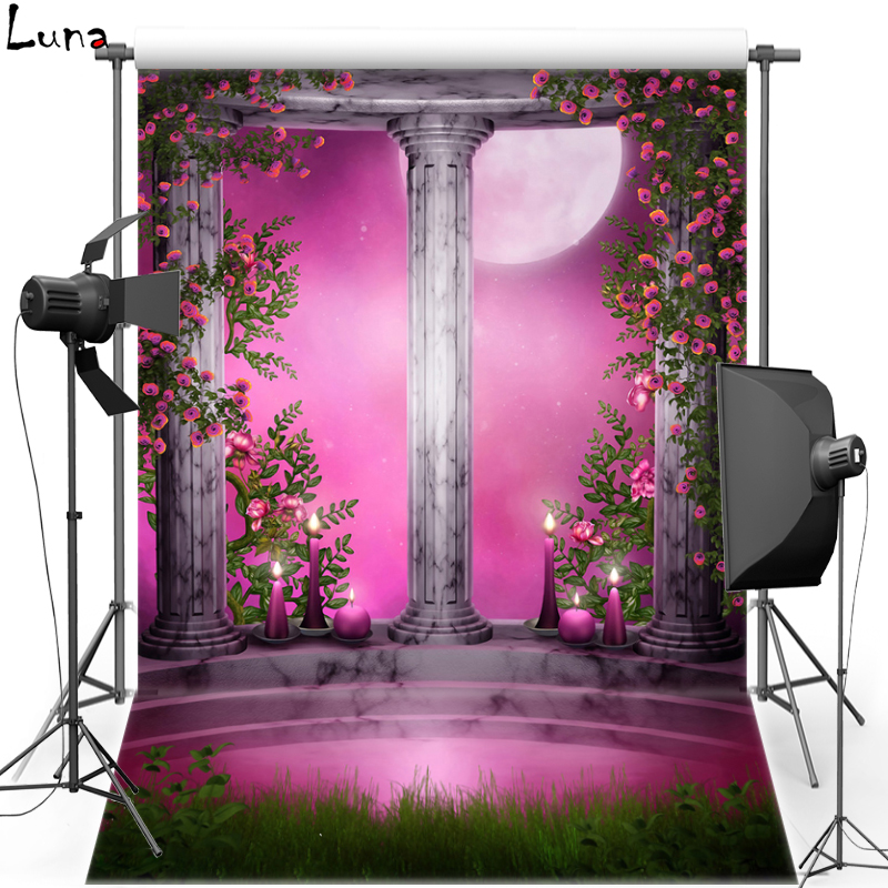 Pink Moon Light For Children Vinyl Photography Background Flower New Fabric Flannel Photography Backdrop For Photo Studio F1671