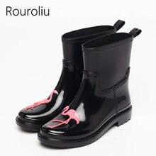 Rouroliu Women Retro Chic Cute Cartoon Rainboots Waterproof Water Shoes WomanWellies Anti-Slip Rain Boots RT305