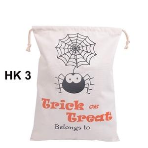 Image 4 - Sıcak Satış Pamuk Tuval El Çantası 30 adet/grup Cadılar Bayramı Çuval Cadılar Bayramı Hediyeler Çanta Şeker Torbaları 6 Stilleri Cadılar Bayramı Çuval çocuk
