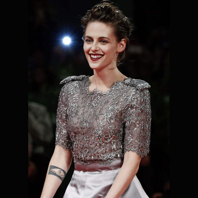 bd18d90cee430 Kristen Stewart Lace Evening Dress 2017 Illusion Grey Prom Celebrity Red  Carpet Gowns with Half Sleeves Celebrity Dresses Prom