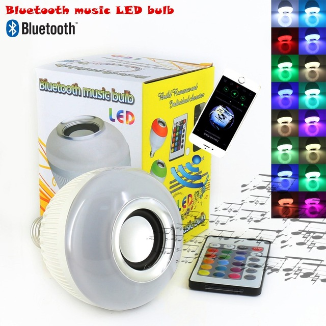 E27 Bluetooth music bulb led Wireless 12W 24 Keys IR Remote Control Mini Smart LED Audio Speaker RGB Color Light Bulb Music Lamp