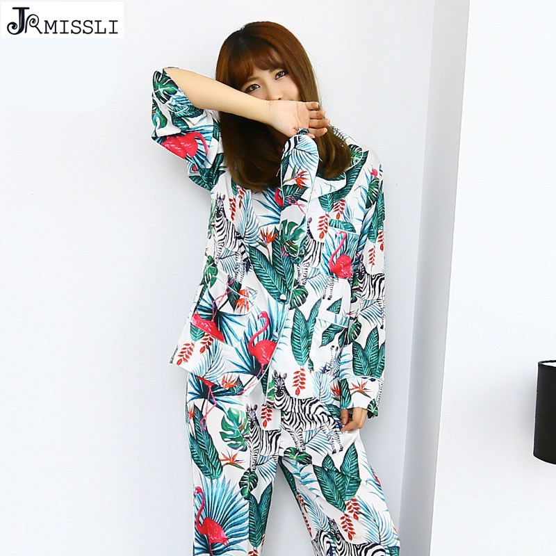 JRMISSLI Satin Sleepwear Women Silk Sleep Lounge Pyjama Femme Spring Pajama Set Pijama 2 Pieces Homewear