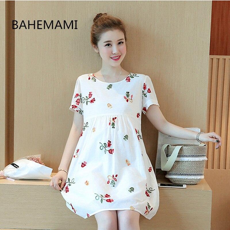 BAHEMAMI Cute Elegant Maternity Clothes Pregnancy Summer Short Sleeve Cotton Pregnant Dress Nursing Clothes For Pregnant Women
