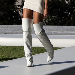 2017 New Arrival Brand Designer White Over Knee Boots Kim Kardashian Same Style Thin High Heel Woman Boots Hot Fashion Celebrity