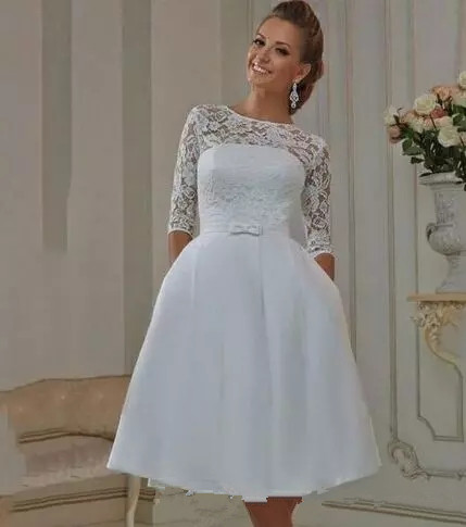 52e6da3272f0 Thinyfull Vestido de Noiva 2019 Elegant a-line short Wedding Dresses half  Sleeves lace Princess