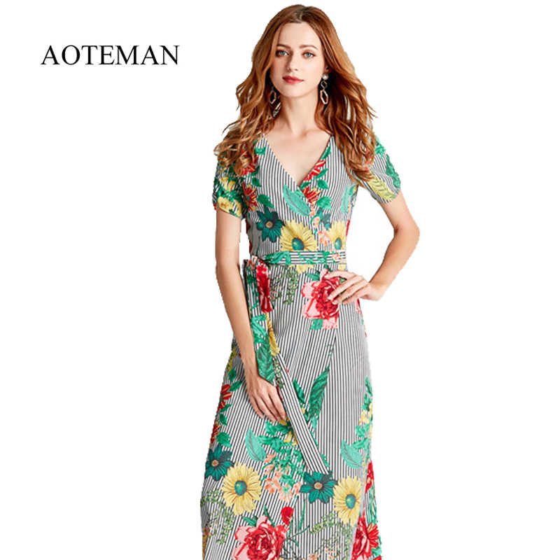 9fcb7e82b24065c AOTEMAN с цветочным принтом летнее женское платье Повседневное Винтаж v-образным  вырезом высокой вилка шифоновое
