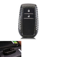 BBQ@FUKA Carbon Fiber Key Fob Holder Skin Shell Case Car Key Cover For Toyota Highlander Camry Crown Prado RAV4 Corolla Reiz