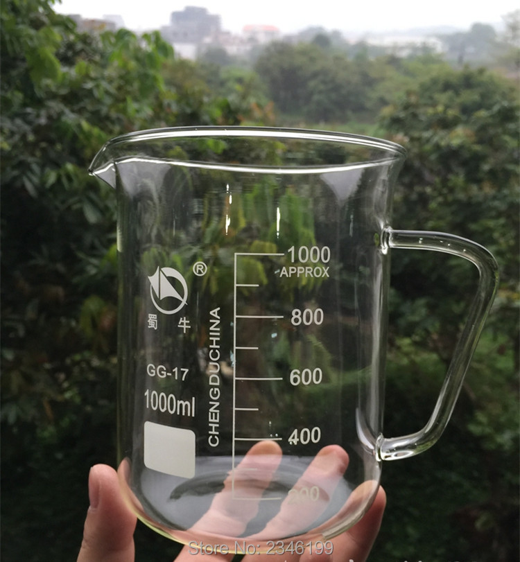 Multi-Specification 500ML 1000ML Transparent Glass Beaker With Handle Scale High-resistent Glassware Chemistry Lab Free Shipping free shipping organic chemistry laboratory glassware kit lab glassware kit borosilicate glass 3 3