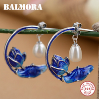 BALMORA Vintage Earrings 100 Real 925 Sterling Silver Simulated Pearl Flower Earrings For Women Gifts Retro