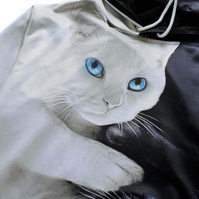Yin and Yang Cats Printed Sweatshirt