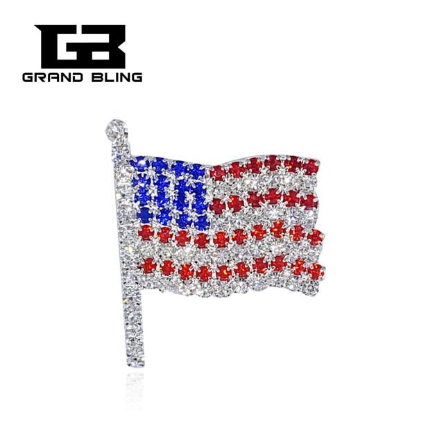 Superb Hand Made Jewelry Rhinestone USA Flag Brooch Pins