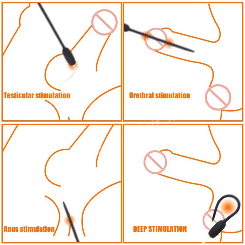 20 Speeds Silicone Catheter Dilators Vibrator Masturbator For Men Penis Plug Sex Toys Dildo Massager Urethral Vibrating Sounds in Vibrators from Beauty Health