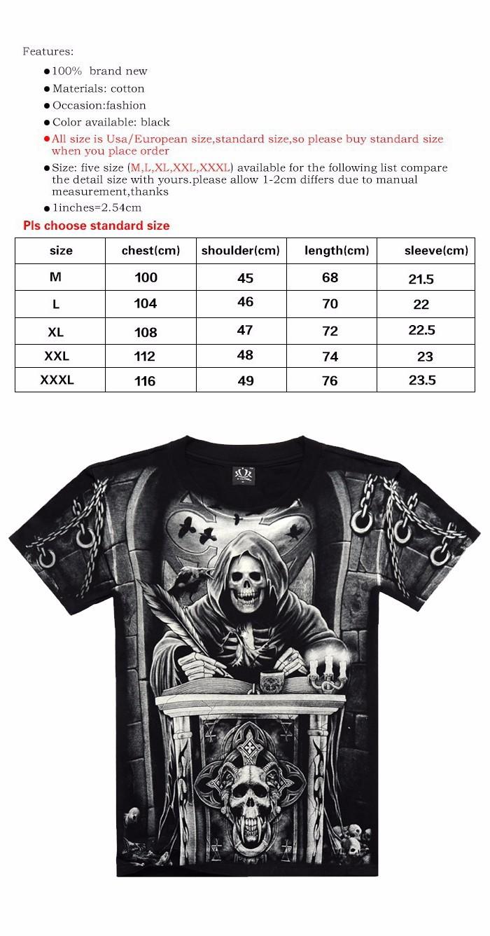 T shirt men 3D Summer style 3D T shirt 100% Cotton casual Tshirt Men clothes Pattern Bone death 2015 Hot hip hop t shirt men 117 (1)