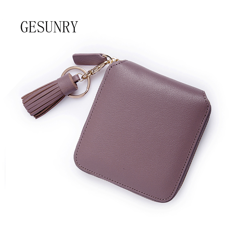 GESUNRY 3 Colors Fashion genuine leather Women Short Wallets Genuine Leather Wallet Mini Luxury Zipper Coin