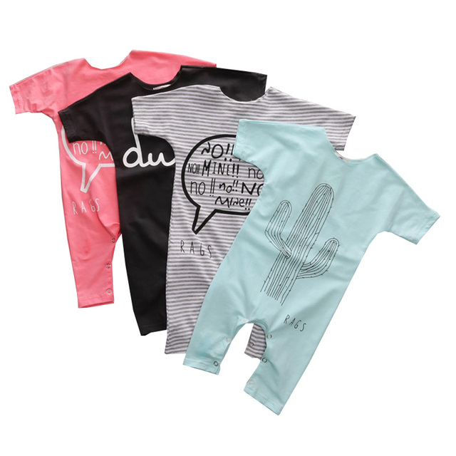 Newborn Summer Baby Rompers Short Sleeve Cotton Letter Printed Baby