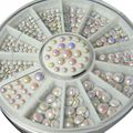 500PCS 3D Nail Art Tips gems Crystal Rhinestone DIY Decoration+Wheel 3 Sizes  LI02