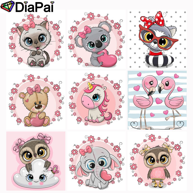 DIAPAI 5D DIY Diamond Painting Full Square Round Drill quot Cartoon animal quot 3D Embroidery Cross Stitch 5D Decor Gift in Diamond Painting Cross Stitch from Home amp Garden