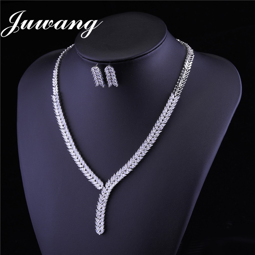 JUWANG brillant ensembles de bijoux cubique Zircon collier boucles d'oreilles pour femme mariage bijoux de mariée ensembles accessoires de robe de soirée 6