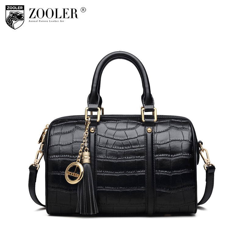 ZOOLER High Quality Leather Women Bag Fashion Shoulder Bags Solid Handbag and Purse for Women Ladies Tassel Tote Handbag C121 patent leather handbag shoulder bag for women