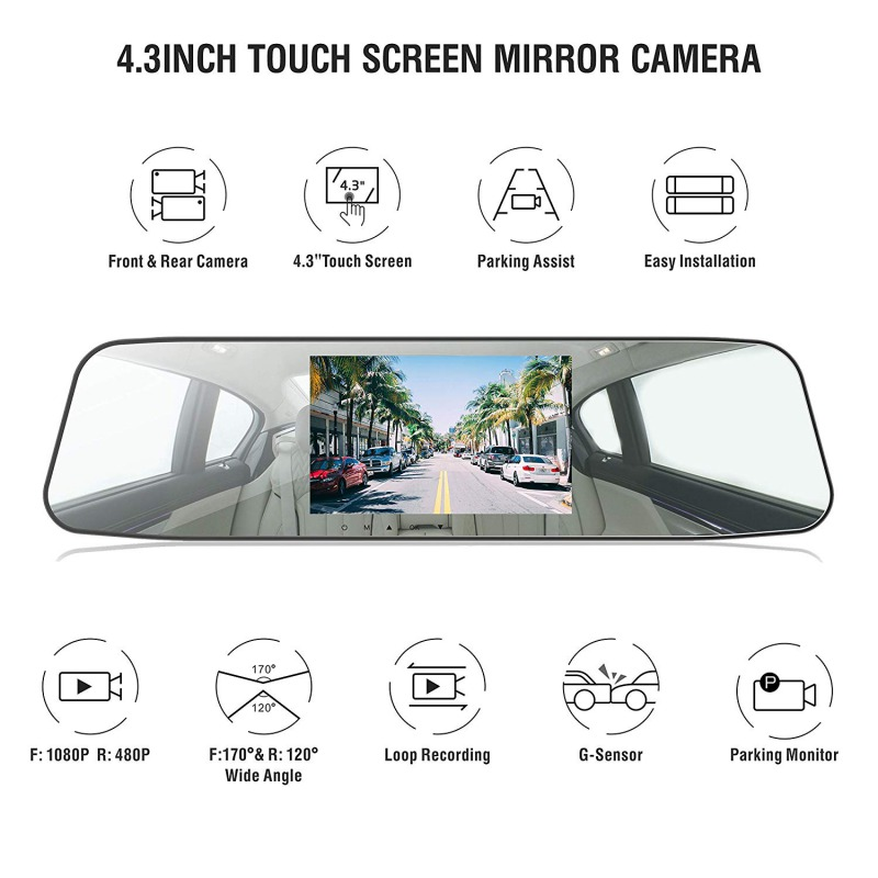 Image 2 - AUTMOR Car Dvr Mirror 4.3Inch Touch Screen FHD 1080P Car Rear View Mirror Camera Dual Lens Dash Cam Parking Monitor Black Box-in DVR/Dash Camera from Automobiles & Motorcycles